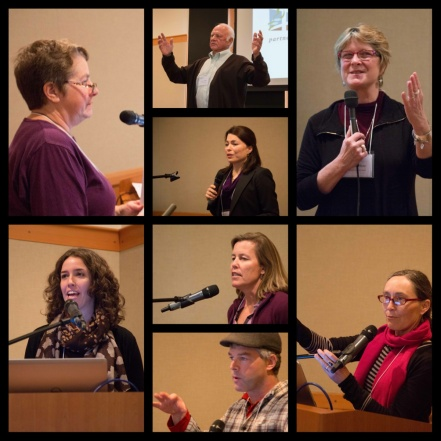 MRC speakers (Clockwise from top): Jamestown S'Klallam Tribal member Marlin Holden, Sheida Sahandy, Beth Kerttula,,Betsy Peobody,Ginny Broadhurst,Ian Miller,Julie Horowitz, Christine Woodward
